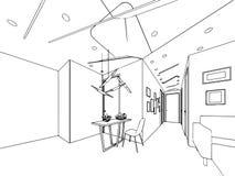 Binnenlands de tekeningsperspectief van de overzichtsschets van een ruimte Stock Afbeeldingen