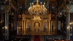 Binnenlands detail van Bulgaars ijzer St Stephen Church, een orthodoxe kerk in Istanboel, Turkije stock foto