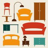 Binnenlands die pictogram met meubilair in retro stijl wordt geplaatst Royalty-vrije Stock Foto's