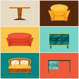 Binnenlands die pictogram met meubilair in retro stijl wordt geplaatst Royalty-vrije Stock Fotografie