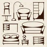 Binnenlands die pictogram met meubilair in retro stijl wordt geplaatst Stock Foto's