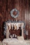 Binnenlands fireplace Achtergrond Het concept Kerstmis royalty-vrije stock afbeeldingen