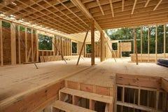 Binnenlands frame van een nieuw huis Stock Afbeelding