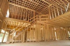 Binnenlands frame van een nieuw huis Royalty-vrije Stock Afbeeldingen