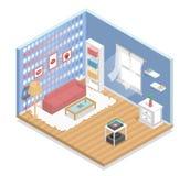 binnenlands, isometrisch, woonkamer Stock Afbeelding