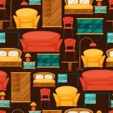 Binnenlands naadloos patroon met meubilair in retro Stock Foto