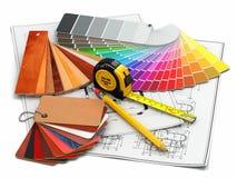 Binnenlands ontwerp. Architecturale materialenhulpmiddelen en blauwdrukken Stock Fotografie