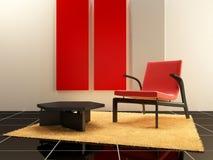 Binnenlands ontwerp - de Rode zetel ontspant binnen ruimte Royalty-vrije Stock Afbeeldingen