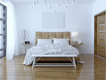Binnenlands ontwerp: Grote moderne Slaapkamer stock foto