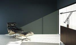 Binnenlands ontwerp van eamesstoel op blauwe muur