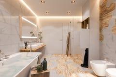 Binnenlands ontwerp van een badkamers, 3d illustratie in Skandinavisch s stock illustratie