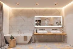Binnenlands ontwerp van een badkamers, 3d illustratie in Skandinavisch s vector illustratie