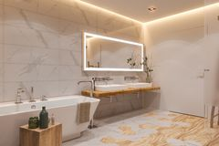 Binnenlands ontwerp van een badkamers, 3d illustratie in een Skandinavische stijl stock illustratie