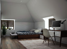Binnenlands ontwerp van een slaapkamer Stock Foto