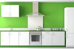 Binnenlands ontwerp van moderne groene keuken Stock Afbeeldingen