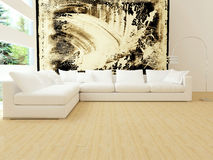 Binnenlands ontwerp van moderne witte woonkamer Stock Fotografie