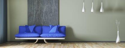 Binnenlands ontwerp van moderne woonkamer met bank het 3d teruggeven Stock Foto