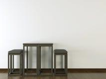 Binnenlands ontwerp zwart meubilair op witte muur Stock Foto