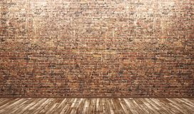 Binnenlandse achtergrond van ruimte met 3d bakstenen muur en houten vloer Royalty-vrije Stock Afbeelding