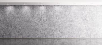 Binnenlandse achtergrond van ruimte met het concrete muur 3d teruggeven Royalty-vrije Stock Foto's