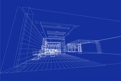 Binnenlandse Architectuur abstracte, 3d illustratie, de bouw structuur commercieel de bouwontwerp Stock Afbeeldingen