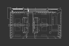 Binnenlandse architectuur abstracte, 3d illustratie, vloerplan Stock Foto