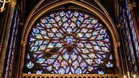 Binnenlandse Beroemde Heilige Chapelle, Details van de Mooie Vensters van het Glasmozaïek royalty-vrije stock foto