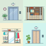 Binnenlandse binnen de liften van de garderobekleedkamer vector illustratie