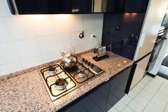 Binnenlandse, binnenlandse keuken Royalty-vrije Stock Afbeeldingen