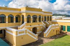 Binnenlandse binnenplaats van Fort Christiansted in St Croix Virgin Isl Stock Afbeeldingen