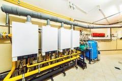 Binnenlandse boiler met vier krachtig van de boilers van het huishoudengas Royalty-vrije Stock Fotografie