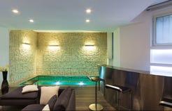 Binnenlandse, brede woonkamer Stock Foto