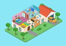 Binnenlandse buiten de ruimte vlak 3d isometrische vector van het huishuis Stock Foto