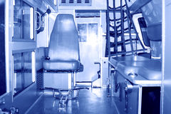Binnenlandse cabine van een ziekenwagen Royalty-vrije Stock Afbeeldingen