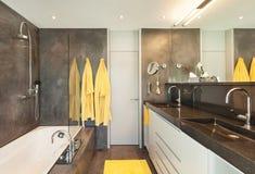 Binnenlandse, comfortabele marmeren badkamers Stock Afbeeldingen