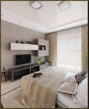 Binnenlandse 3D ontwerp van de slaapkamer geeft het moderne stijl, terug Stock Fotografie