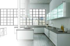 Binnenlandse de Tekeningsgradatie van de Ontwerp Moderne Zolder in Foto Stock Afbeelding