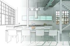 Binnenlandse de Tekeningsgradatie van de Ontwerp Moderne Zolder in Foto Stock Foto's