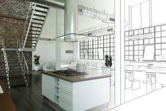 Binnenlandse de Tekeningsgradatie van de Ontwerp Moderne Zolder in Foto Stock Afbeeldingen