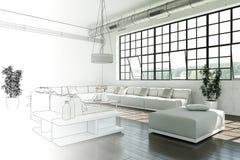 Binnenlandse de Tekeningsgradatie van de Ontwerp Moderne Zolder in Foto Stock Foto