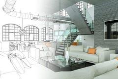 Binnenlandse de Tekeningsgradatie van de Ontwerp Moderne Zolder in Foto Stock Fotografie