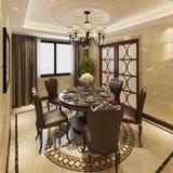Binnenlandse eetkamer in een klassieke stijl 3d illustratie Stock Afbeeldingen