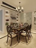 Binnenlandse eetkamer in een klassieke stijl 3d illustratie Stock Fotografie