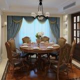 Binnenlandse eetkamer in een klassieke stijl 3d illustratie Royalty-vrije Stock Foto's