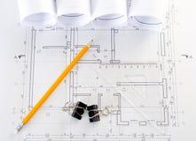 Binnenlandse en architecturale tekening stock afbeeldingen