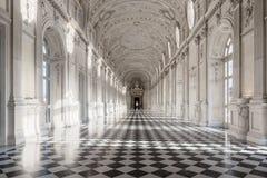 Binnenlandse galerij van koninklijk paleis van Venaria Reale in Piemonte, U Royalty-vrije Stock Fotografie