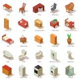 Binnenlandse geplaatste meubilairpictogrammen, isometrische stijl Stock Afbeelding