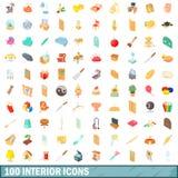 100 binnenlandse geplaatste pictogrammen, beeldverhaalstijl Royalty-vrije Stock Afbeelding