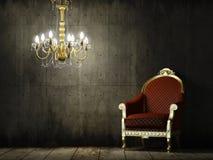 Binnenlandse grungeruimte met klassieke leunstoel Stock Foto
