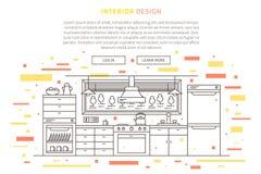 Binnenlandse het meubilair landende pagina van het ontwerphuis royalty-vrije illustratie